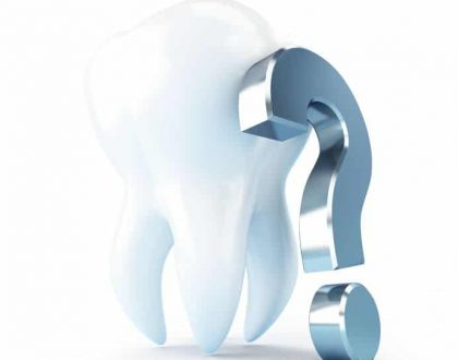 20721008 - dental treatment under a question mark  3d illustrations on a white background